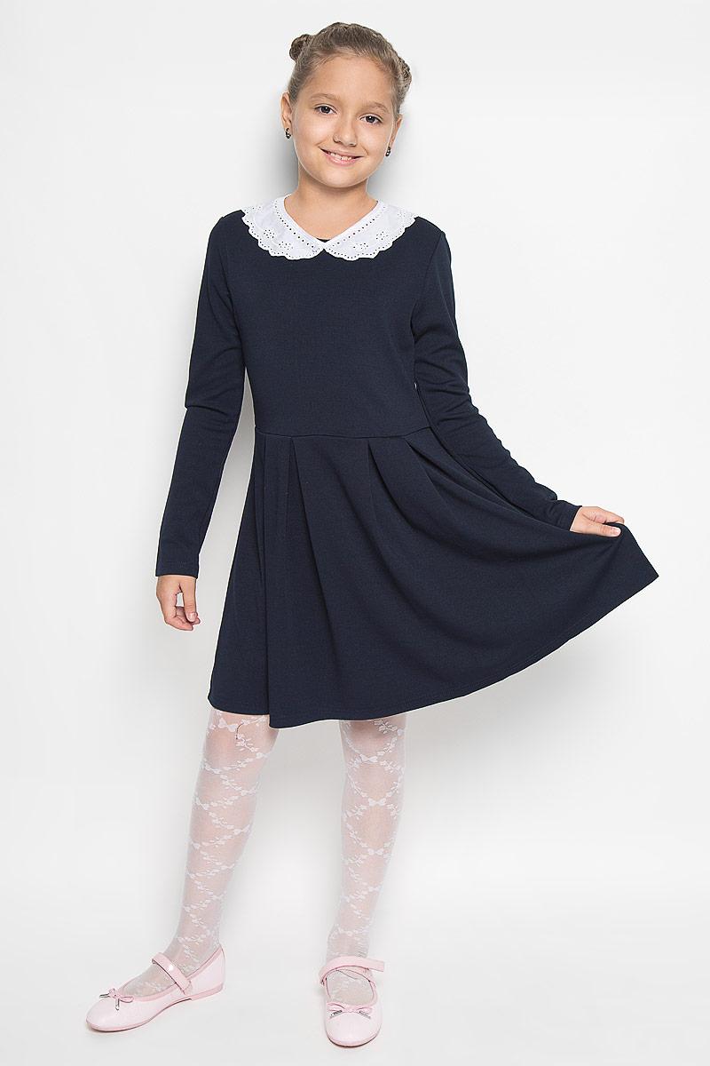 Платье. DK-617/419-6311DK-617/419-6311Стильное платье Sela идеально подойдет вашей дочурке. Платье выполнено из вискозы и полиэстера с добавлением эластана, оно необычайно мягкое и приятное на ощупь, не сковывает движения и позволяет коже дышать, не раздражает даже самую нежную и чувствительную кожу ребенка, обеспечивая наибольший комфорт. Платье-миди с длинными рукавами и круглым вырезом горловины застегивается на пластиковую пуговицу, расположенную на спинке. Модель оснащена съемным воротничком, оформленным перфорированным узором. Воротничок пристегивается к платью с помощью пуговицы и дополнен завязками. Платье оформлено складками. Оригинальный современный дизайн и расцветка делают это платье модным и стильным предметом детского гардероба. В нем ваша девочка будет чувствовать себя уютно и комфортно, и всегда будет в центре внимания!