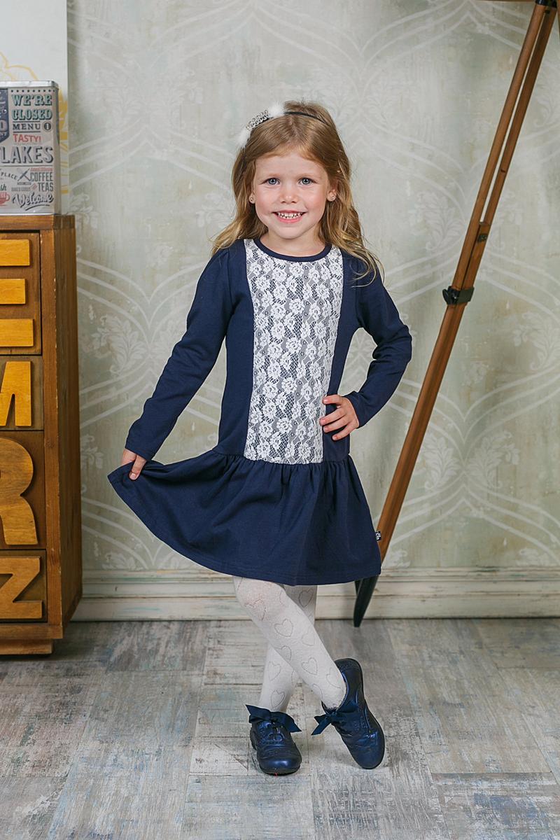 Платье205521Платье для девочки Sweet Berry выполнено из эластичного хлопка. Материал изделия мягкий и тактильно приятный, не стесняет движений и позволяет коже дышать. Платье с круглым вырезом горловины и длинными рукавами-фонариками застегивается сзади на три кнопки. От заниженной линии талии заложены мелкие складочки. Модель украшена спереди кружевной вставкой. Дизайн и расцветка делают это платье оригинальным и модным предметом детской одежды. Маленькая принцесса в нем всегда будет в центре внимания!