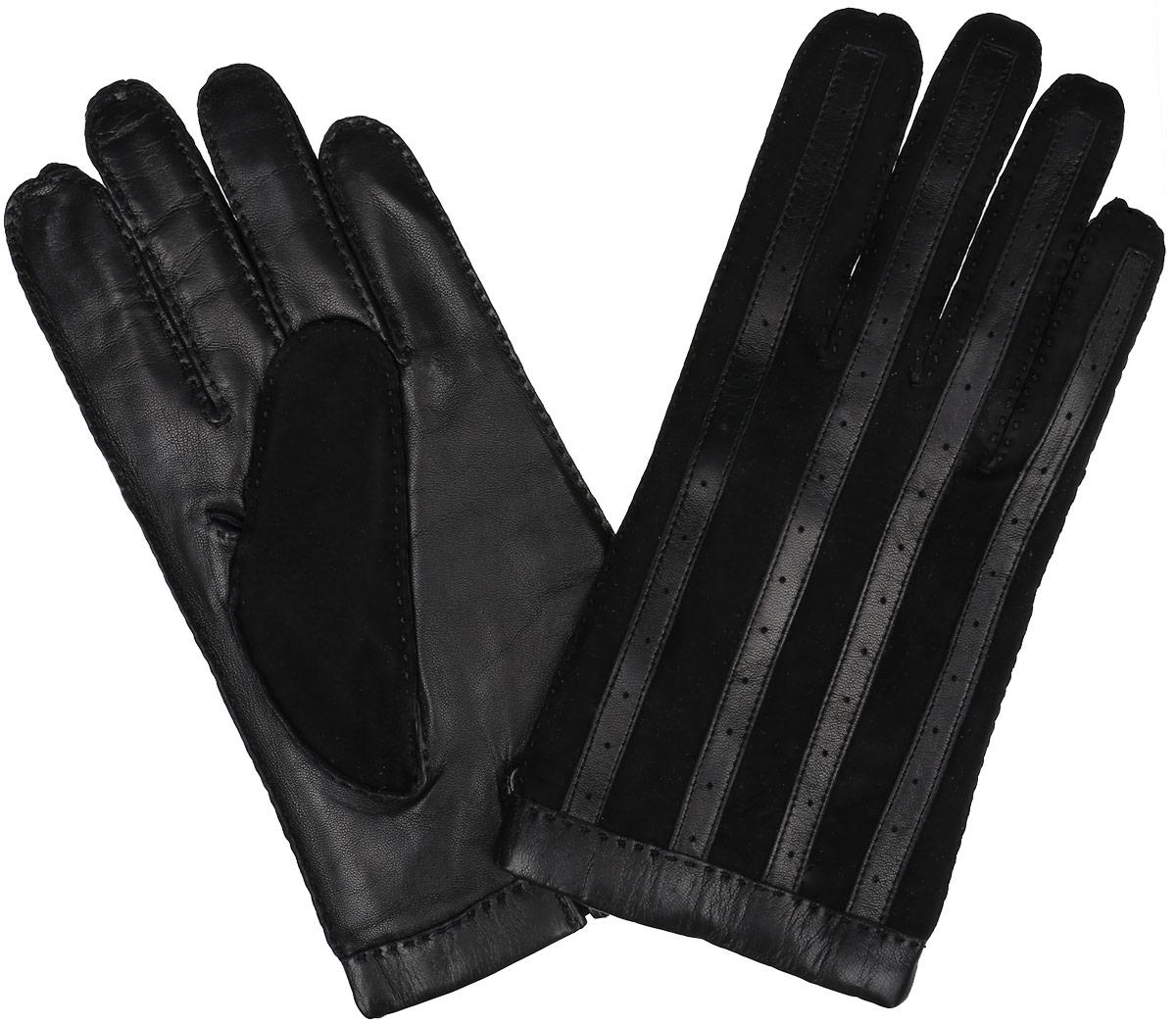 Перчатки мужские. 100_PATROLL100_PATROLL/BL//11Мужские перчатки Dali Exclusive не только защитят ваши руки от холода, но и станут стильным аксессуаром. Перчатки выполнены из мягкой и приятной на ощупь натуральной кожи (на внешней стороне замшевые вставки чередуются со вставками из кожи), подкладка - из 100% шерсти. Манжеты с тыльной стороны дополнены разрезами. Перчатки станут завершающим и подчеркивающим элементом вашего неповторимого стиля и индивидуальности.