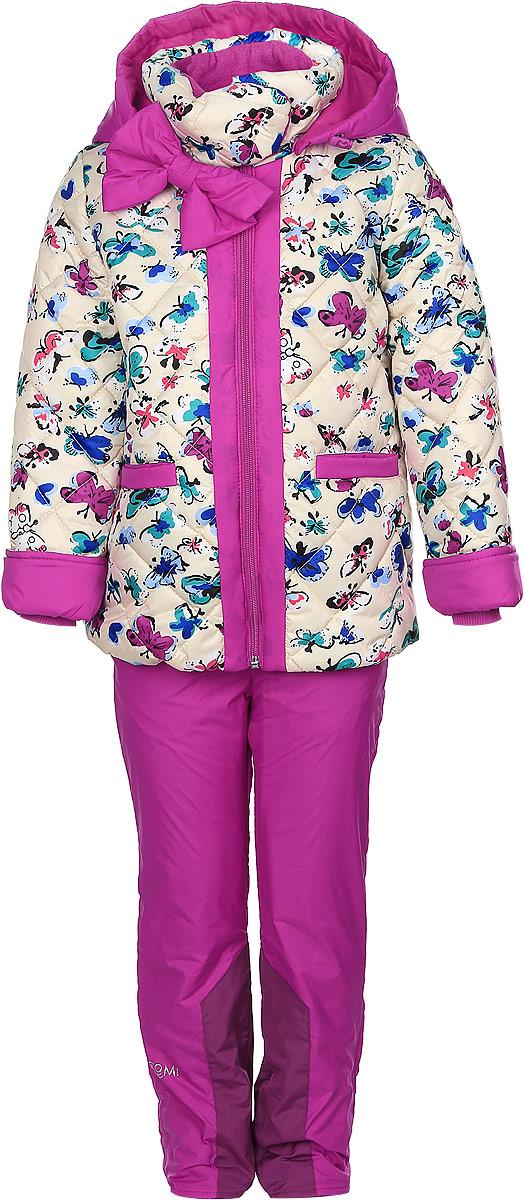 Комплект верхней одежды64047_BOG_вар.1Комплект одежды Boom!, состоящий из куртки и утепленных брюк, идеально подойдет для вашего ребенка в прохладное время года. Куртка изготовлена из 100% полиэстера. Подкладка, выполненная из полиэстера с добавлением вискозы, приятная на ощупь. В качестве утеплителя используется синтепон - 100% полиэстер. Куртка со съемным капюшоном и воротником-стойкой застегивается на пластиковую молнию и дополнительно имеет внутреннюю ветрозащитную планку. Воротник оснащен застежкой-кнопкой. Капюшон с затягивающимся шнурком со стопперами пристегивается к куртке при помощи пуговиц. На рукавах имеются трикотажные манжеты, которые предотвращают проникновение снега и ветра. По линии талии с внутренней стороны куртка дополнена затягивающимся шнурком со стопперами. Низ изделия присборен на широкую резинку. Спереди расположены два прорезных кармана. Модель оформлена принтом с изображением бабочек, украшена большим бантом. На куртке предусмотрены светоотражающие нашивки с...
