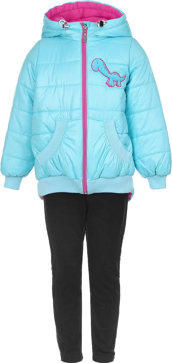 Комплект верхней одежды64049_BOG_вар.1Комплект одежды Boom!, состоящий из куртки и утепленных брюк, идеально подойдет для вашего ребенка в прохладное время года. Куртка изготовлена из 100% полиэстера. Подкладка выполнена из мягкого теплого флиса, приятная на ощупь. В качестве утеплителя используется синтепон - 100% полиэстер. Куртка с капюшоном застегивается на пластиковую молнию с защитой подбородка и имеет внутреннюю ветрозащитную планку. Несъемный капюшон дополнен затягивающимся шнурком с металлическими стопперами. На рукавах предусмотрены трикотажные манжеты, которые предотвращают проникновение снега и ветра. Спинка модели удлинена. По низу куртка дополнена трикотажными резинками. Спереди расположены два накладных кармана. Изделие украшено декоративными вставками под дракона и аппликацией в виде динозавра. На куртке предусмотрена небольшая светоотражающая нашивка с фирменным логотипом. Брюки изготовлены из разнофактурной ткани. Вставка спереди выполнена из плотного эластичного ...