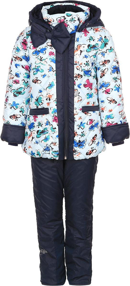 64047_BOG_вар.1Комплект одежды Boom!, состоящий из куртки и утепленных брюк, идеально подойдет для вашего ребенка в прохладное время года. Куртка изготовлена из 100% полиэстера. Подкладка, выполненная из полиэстера с добавлением вискозы, приятная на ощупь. В качестве утеплителя используется синтепон - 100% полиэстер. Куртка со съемным капюшоном и воротником-стойкой застегивается на пластиковую молнию и дополнительно имеет внутреннюю ветрозащитную планку. Воротник оснащен застежкой-кнопкой. Капюшон с затягивающимся шнурком со стопперами пристегивается к куртке при помощи пуговиц. На рукавах имеются трикотажные манжеты, которые предотвращают проникновение снега и ветра. По линии талии с внутренней стороны куртка дополнена затягивающимся шнурком со стопперами. Низ изделия присборен на широкую резинку. Спереди расположены два прорезных кармана. Модель оформлена принтом с изображением бабочек, украшена большим бантом. На куртке предусмотрены светоотражающие нашивки с...