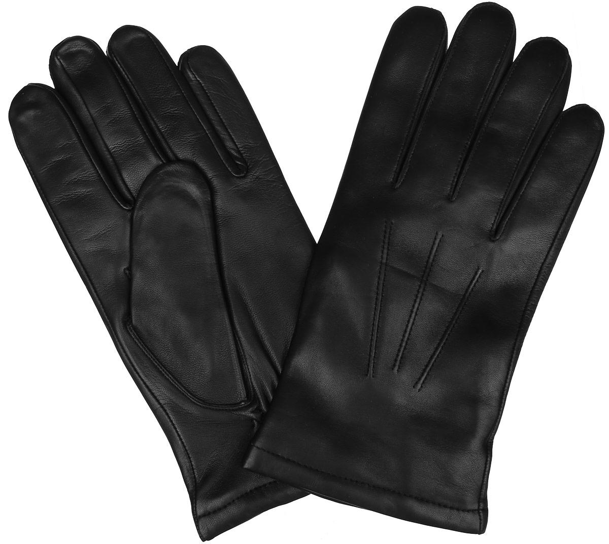 Перчатки мужские. IS133IS133Стильные мужские перчатки Eleganzza не только защитят ваши руки от холода, но и станут великолепным украшением. Перчатки выполнены из натуральной кожи с подкладкой из шерсти. Лицевая сторона оформлена декоративными швами три луча, а на ладонной стороне дополнена стяжкой на запястье. Перчатки станут завершающим и подчеркивающим элементом вашего стиля.
