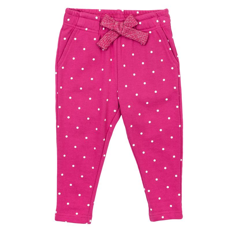 Брюки368064Уютные трикотажные брюки в белый горошек. Пояс на мягкой резинке, дополнительно регулируется розовой тесьмой. Есть 4 функциональных кармашка.