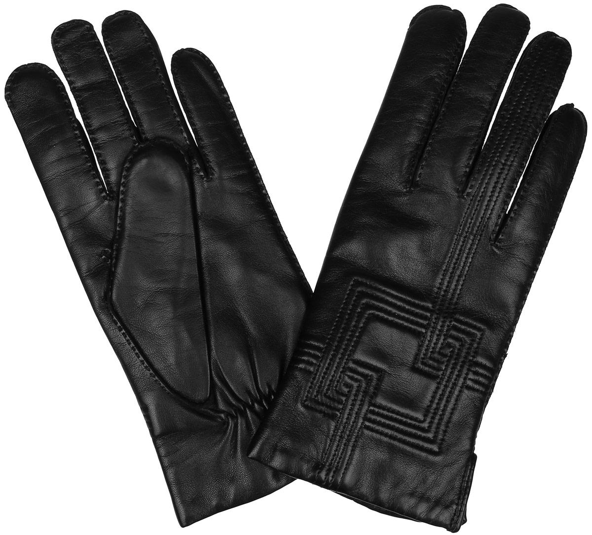 Перчатки мужские. 100_GUCCI100_GUCCI/BL//11Мужские перчатки Dali Exclusive не только защитят ваши руки от холода, но и станут стильным аксессуаром. Перчатки выполнены из мягкой и приятной на ощупь натуральной кожи ягненка, подкладка - из 100% шерсти. Манжеты дополнены боковыми разрезами и с тыльной стороны присборены на резинку для лучшего прилегания к запястью. Оформлено изделие декоративной фигурной прострочкой. Перчатки станут завершающим и подчеркивающим элементом вашего неповторимого стиля и индивидуальности.