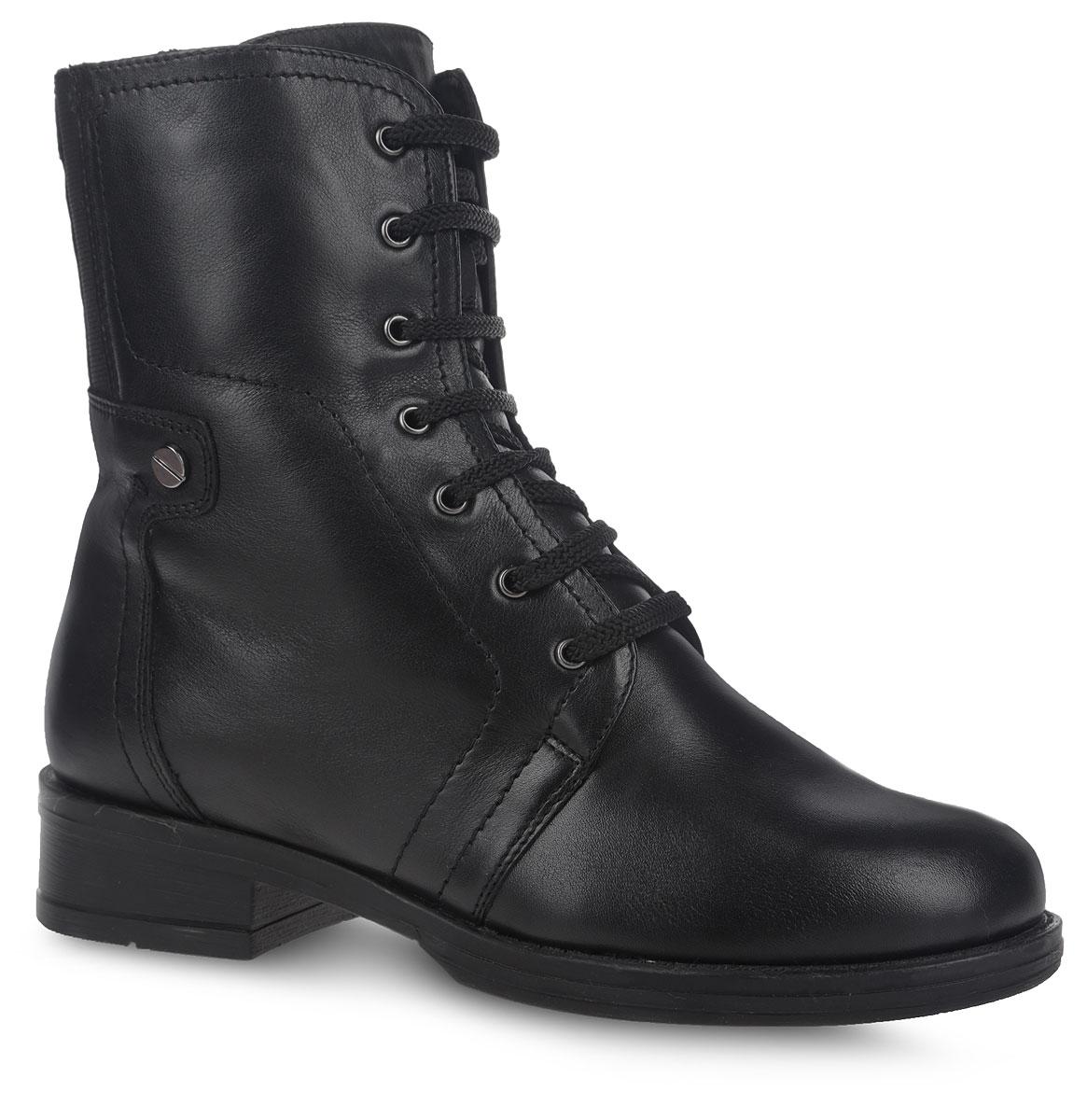 9SO_713-115_BLACKСтильные ботинки от Spur, выполненные из натуральной кожи, оформлены вставкой из эластичной резинки на голенище. Шнуровка надежно зафиксирует модель на ноге. Боковая застежка-молния позволяет легко снимать и надевать модель. Подкладка и стелька из натуральной шерсти сохранят ноги в тепле. Небольшой каблук и подошва с рифлением обеспечивают хорошее сцепление с любой поверхностью. В таких ботинках вашим ногам будет комфортно и уютно.