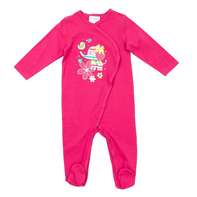 368817Мягкий хлопковый комбинезон ярко-розового цвета. Удобно застегивается на кнопки спереди и по внутренней стороне ножек. Украшен принтом с забавным слоником и бантиком. Есть носочки.