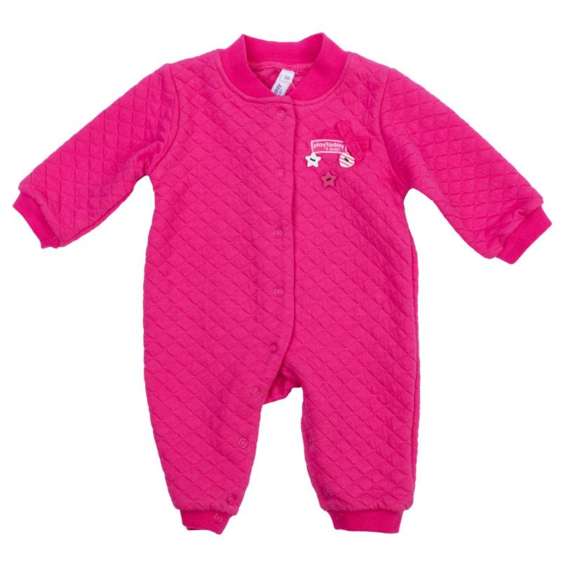 368815Мягкий хлопковый комбинезон ярко-розового цвета. Удобно застегивается на кнопки спереди и по внутренней стороне ножек. Украшен принтом с забавным слоником и бантиком. Есть носочки.