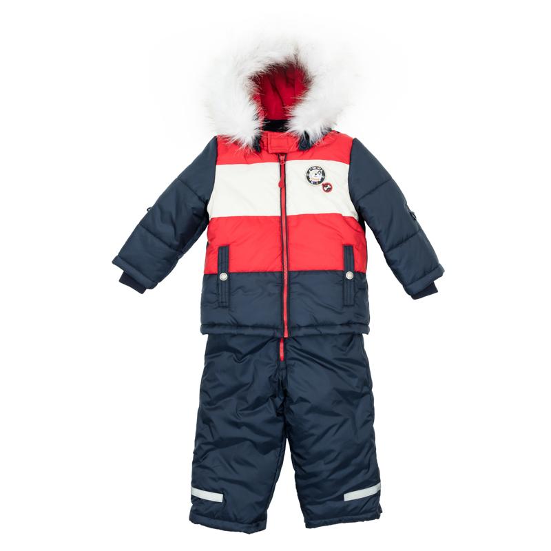 367051Теплый комплект из стеганой куртки и полукомбинезона. Куртка застегивается на молнию. Внутри уютная велюровая подкладка. Рукава на мягкой трикотажной резинке для защиты от ветра. Есть два функциональных кармана на кнопках и светоотражатели. Внизу есть специальная вставка на резинке, пристегнув которую вы надежно защитите малыша от снега. Полукомбинезон застегивается на молнию. Бретели регулируются по длине, низ штанишек утягивается стопперами. Внутри мягкая велюровая подкладка. Двойной низ - с