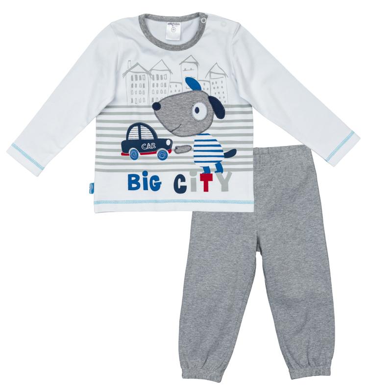 Комплект одежды367072Уютный хлопковый комплект из футболки с длинными рукавами и брюками в спортивном стиле. Футболка украшена принтом с милой собачкой, застегивается на кнопки на плече. Пояс и низ штанишек на резинке, есть дополнительная регулировка тесьмой.