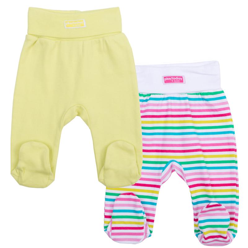 368820Комплект из двух хлопковых ползунков для малышки. Цвета - лимонно-лаймовый и в яркую цветную полоску. Пояс на мягкой резинке с отворотом.