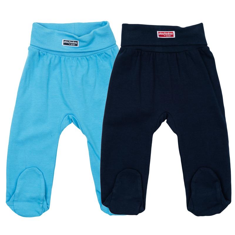 367808Комплект из двух уютных хлопковых ползунков. Сдержанные цвета - голубой и темно-синий. На поясе мягкая резинка с модным отворотом.