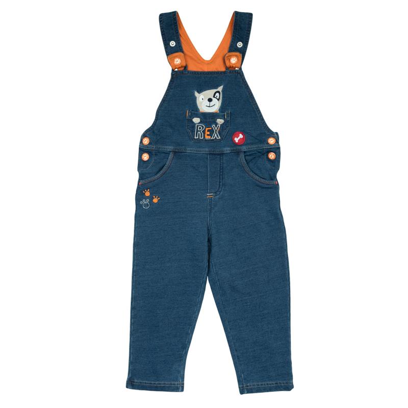 367057Стильный и удобный джинсовый полукомбинезон. По бокам застегивается на кнопки. Украшен вышивкой с милой собачкой и модными потертостями.