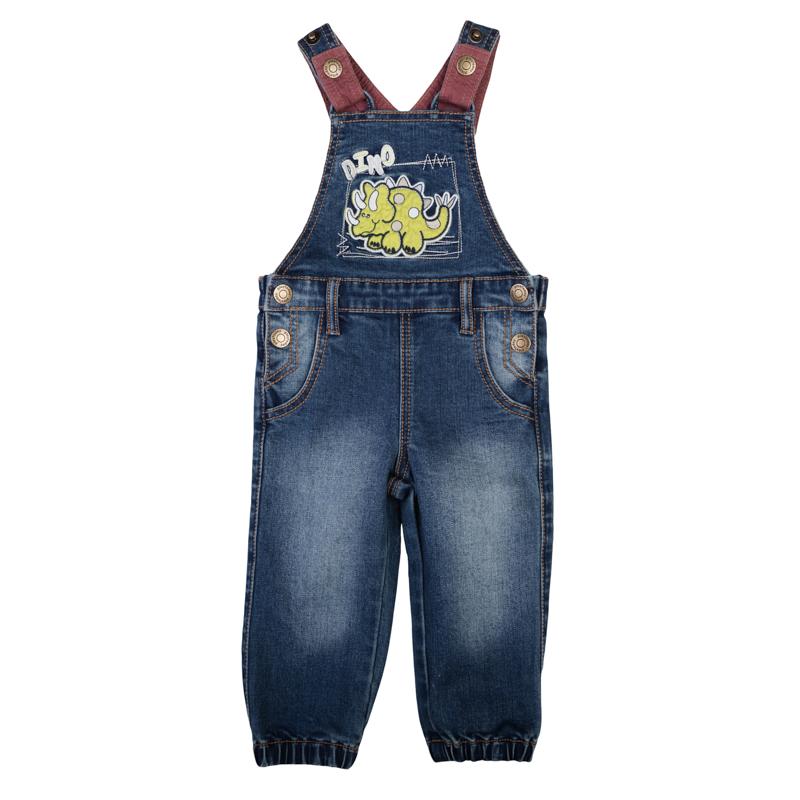 Полукомбинезон367011Стильный джинсовый полукомбинезон с модными потертостями. Украшен яркой аппликацией с милым динозавриком. Застегивается на пуговицы по бокам, бретели регулируются по длине.Есть шлевки для ремня. Низ штанишек на резинке.