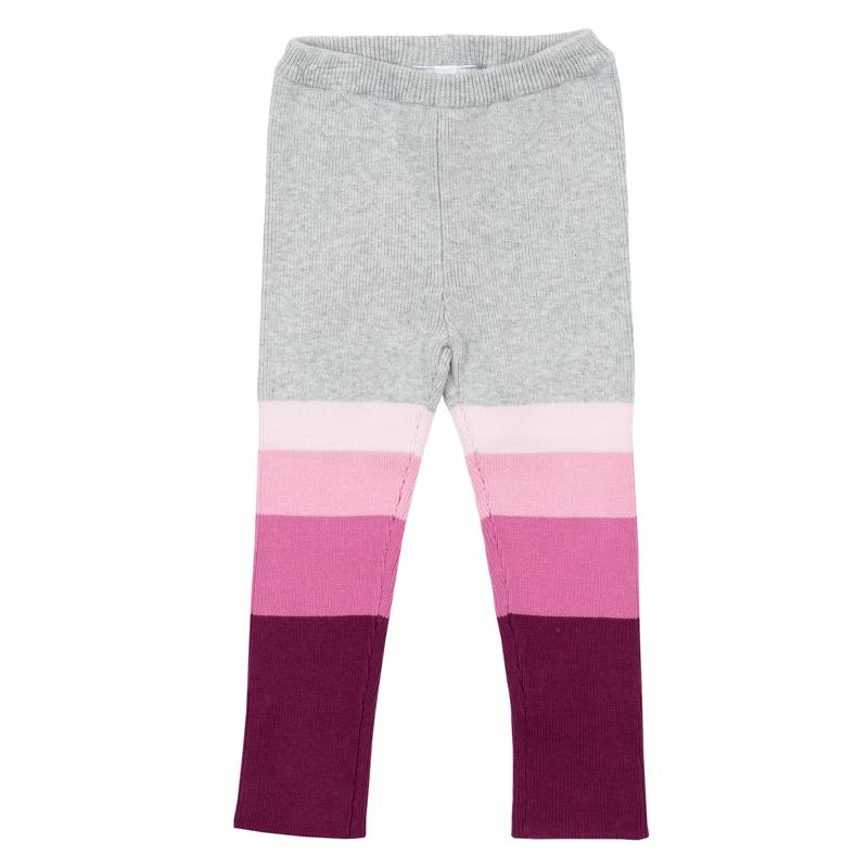 Леггинсы368077Теплые вязаные рейтузы для девочки. Очень мягкие и уютные, совсем не кусаются. Стильный градиент цвета от светло-серого до темно-розового. Пояс на мягкой резинке.