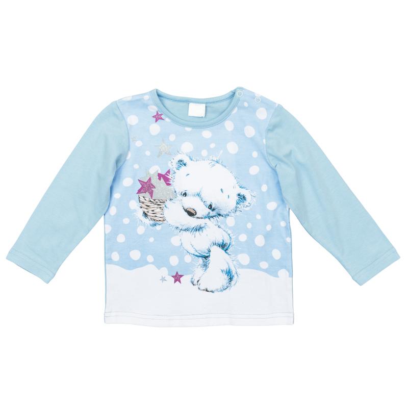 368067Мягкая хлопковая футболка с длинными рукавами. Украшена нежным принтом с медвежонком. Застегивается на кнопки на плече, на воротнике мягкая трикотажная резинка.