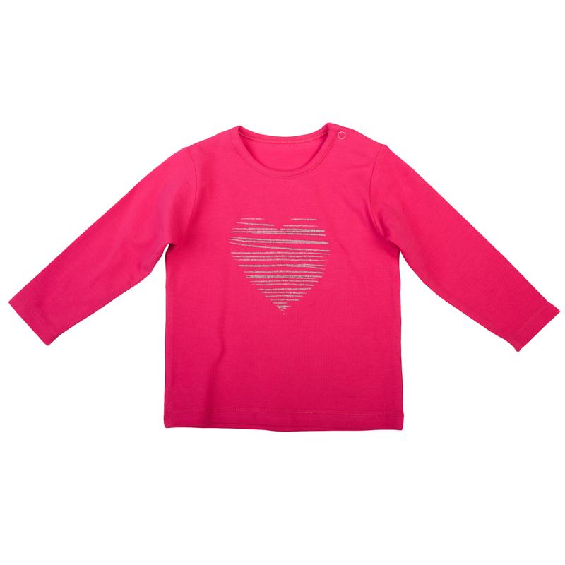 368021Мягкая хлопковая футболка с длинными рукавами. Украшена сердечком из блестящего глиттера. Удобно застегивается на кнопки на плече, чтобы ее легко было надевать.