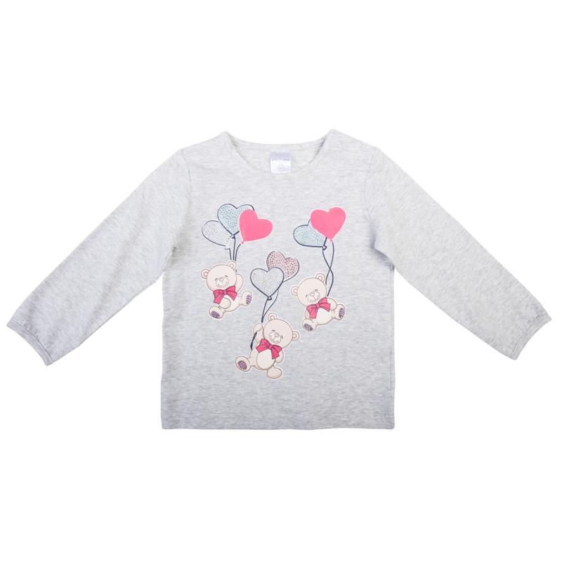 Футболка368020Мягкая хлопковая футболка с длинными рукавами. Украшена принтом с милыми медвежатами и блестящими стразами. Удобно застегивается на кнопки на плече, рукава на резиночке.