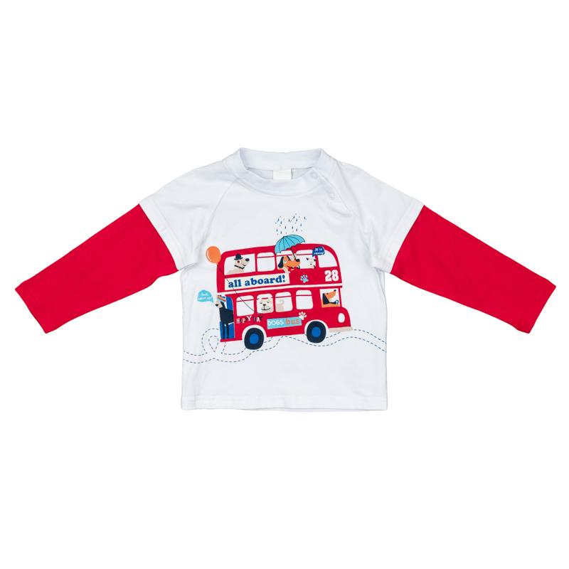 367067Мягкая хлопковая футболка с длинными рукавами. Имитация многослойности: вшитые рукава контрастного цвета. Украшена ярким водным принтом. Застегивается на кнопки на плече, на воротнике мягкая трикотажная резинка.