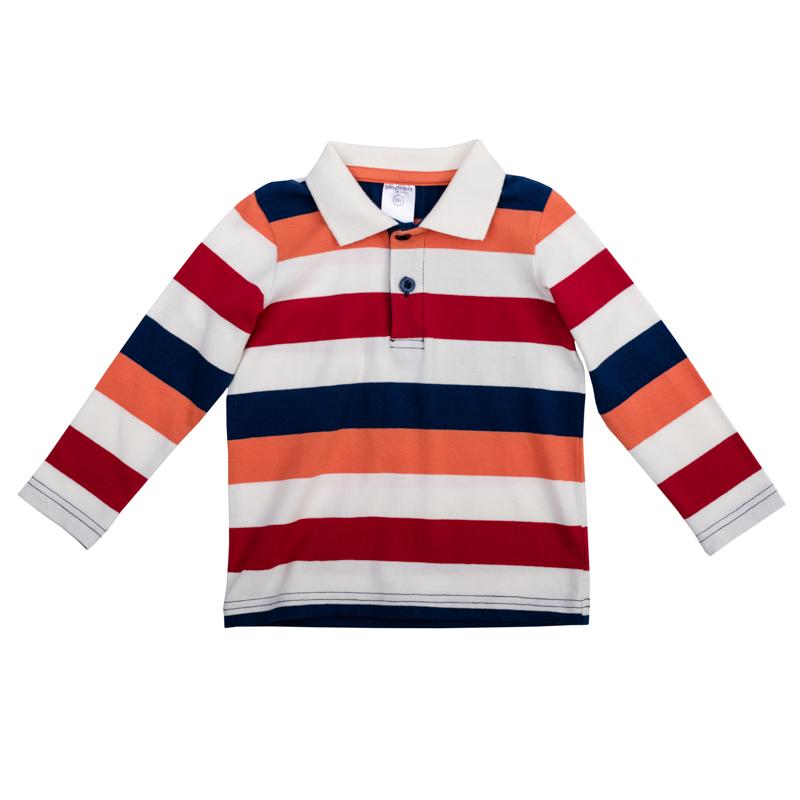 Футболка367066Стильная футболка-поло с длинными рукавами. Классический отложной воротничок на воротнике застежки-кнопки. Украшена рисунком в яркую крупную полоску.