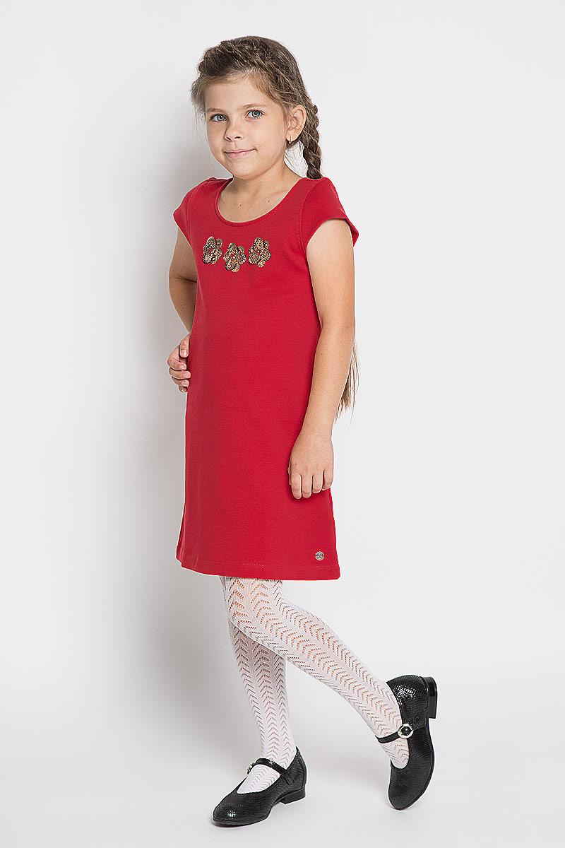 Платье5019152.40.81_4713Стильное платье для девочки Tom Tailor, изготовленное из высококачественного материала, оно необычайно мягкое и приятное на ощупь, не сковывает движения и позволяет коже дышать, не раздражает даже самую нежную и чувствительную кожу ребенка, обеспечивая ему наибольший комфорт. Платье с круглым вырезом горловины и короткими рукавами. Изделие дополнено небольшой аппликацией из пайеток. В таком платье маленькая принцесса всегда будет в центре внимания!