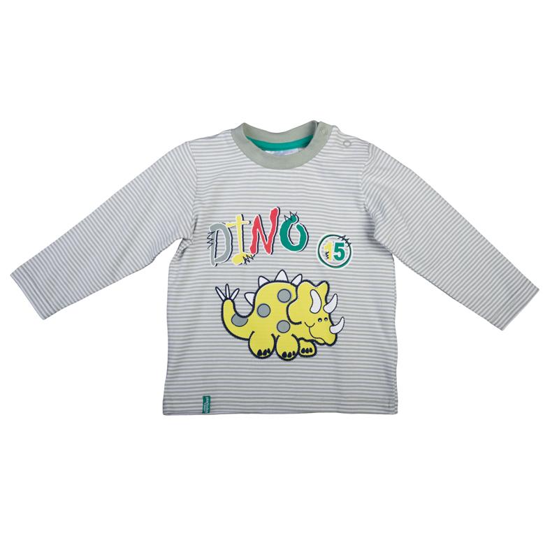 367017Уютная футболка с длинными рукавами. Украшена принтом с забавным динозавриком. Застегивается на кнопки на плече, чтобы ее удобно было надевать и снимать. На воротнике мягкая трикотажная резинка.