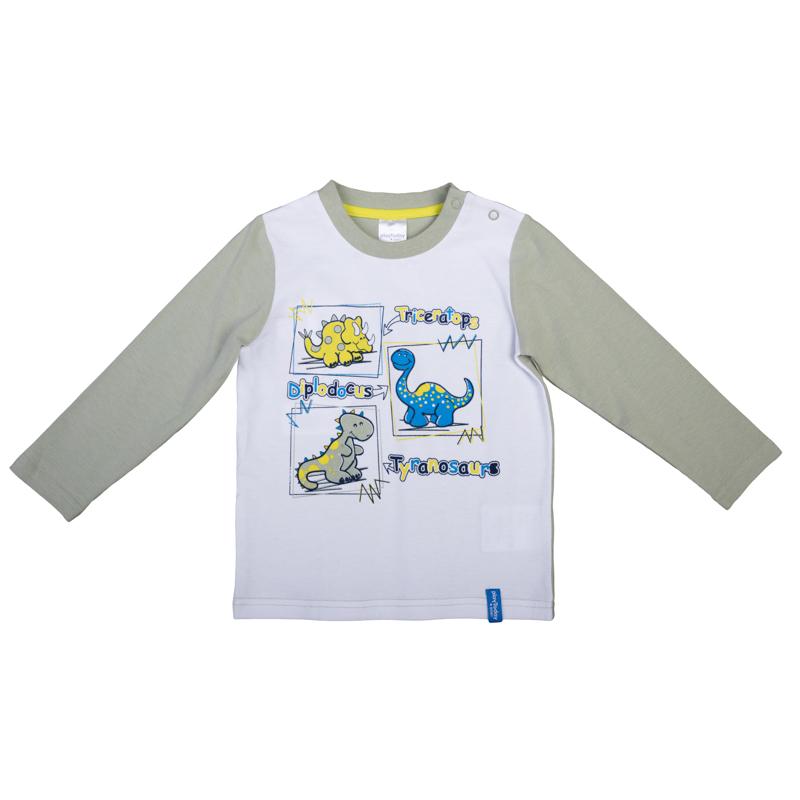 367022Уютная футболка с длинными рукавами. Украшена принтом с забавным динозавриком. Застегивается на кнопки на плече, чтобы ее удобно было надевать и снимать. На воротнике мягкая трикотажная резинка.