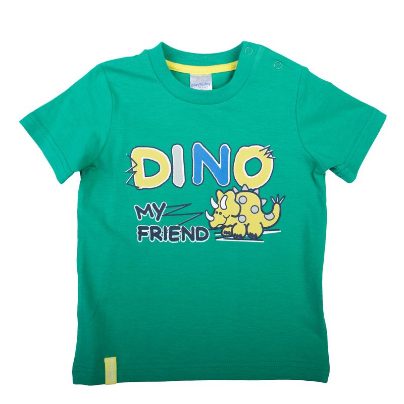 Футболка367040Яркая хлопковая футболка с короткими рукавами. Украшена принтом с забавным динозавриком. Застегивается на кнопки на плече, чтобы ее удобно было надевать и снимать.
