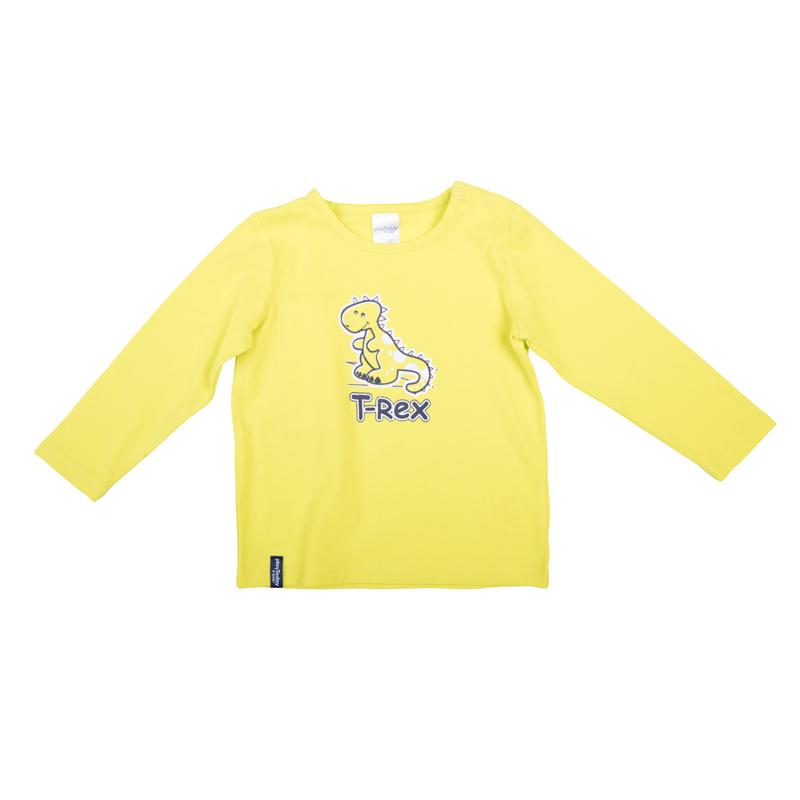 Футболка367023Яркая базовая футболка с длинными рукавами. Украшена принтом с забавным динозавриком. Застегивается на кнопки на плече, чтобы ее удобно было надевать и снимать.
