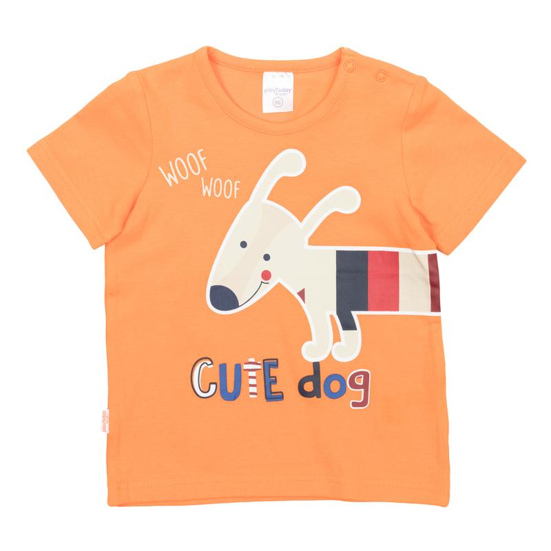 Футболка367069Яркая базовая футболка с короткими рукавами. Украшена принтом с забавной собачкой. Застегивается на кнопки на плече, чтобы ее удобно было надевать и снимать.