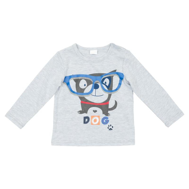 Футболка367068Мягкая базовая футболка с длинными рукавами. Украшена принтом с забавной собачкой. Застегивается на кнопки на плече, чтобы ее удобно было надевать и снимать.