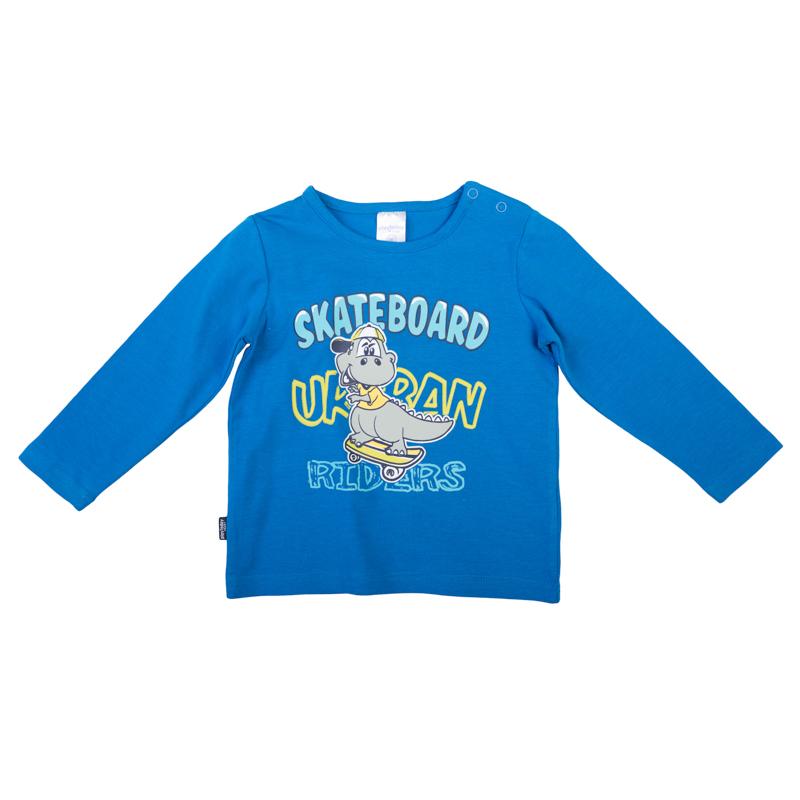 Футболка367020Яркая синяя футболка с длинными рукавами. Украшена принтом с забавным динозавриком. Застегивается на кнопки на плече, чтобы ее удобно было надевать и снимать.