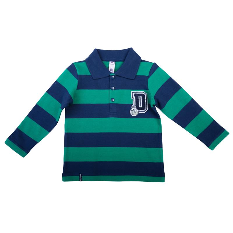 367019Стильная футболка-поло с длинными рукавами. Рисунок в изумрудно-зеленую и темно-синюю полоску. Украшена петельной 3D-вышивкой. Застегивается на 3 кнопки на воротнике.