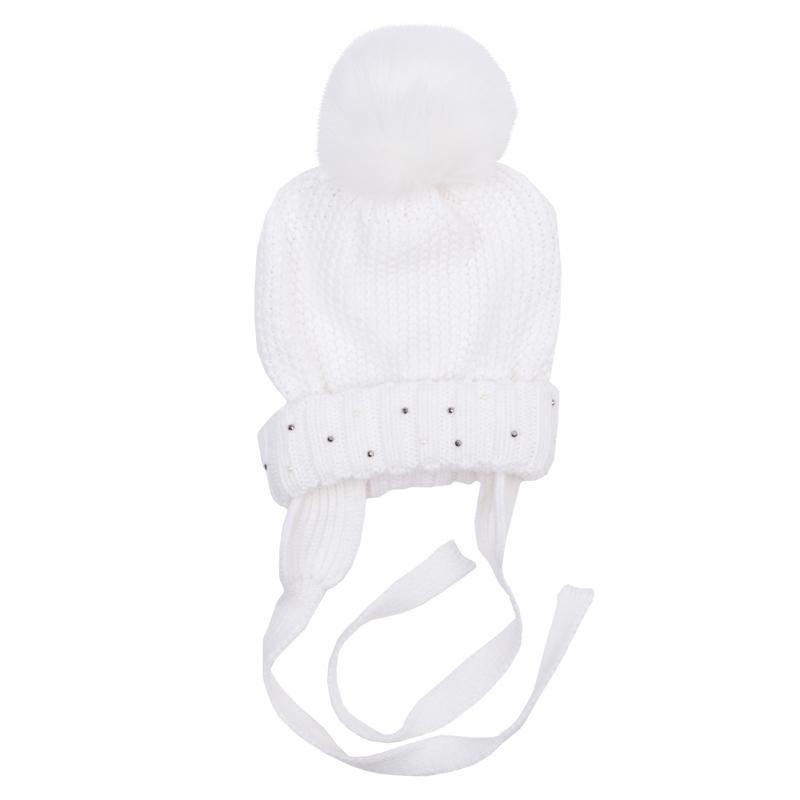Шапка для девочки. 368809368809Теплая шапочка из уютного вязаного трикотажа. Украшена забавным помпоном, есть завязки. Внутри мягкая хлопковая подкладка.