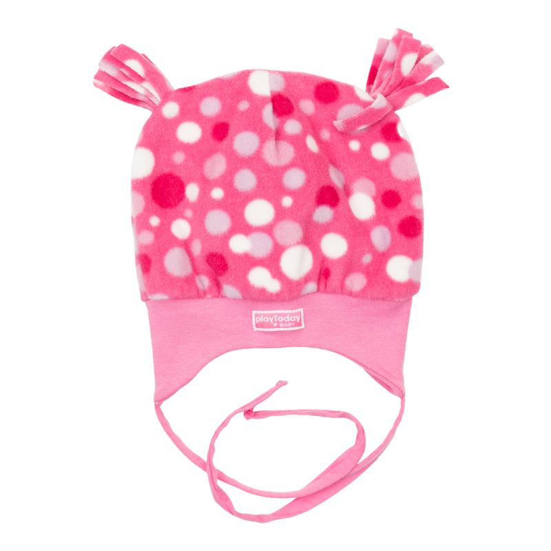 Шапка для девочки. 368808368808Яркая теплая шапочка с хлопковой подкладкой. Украшена забавными ушками, есть завязки.