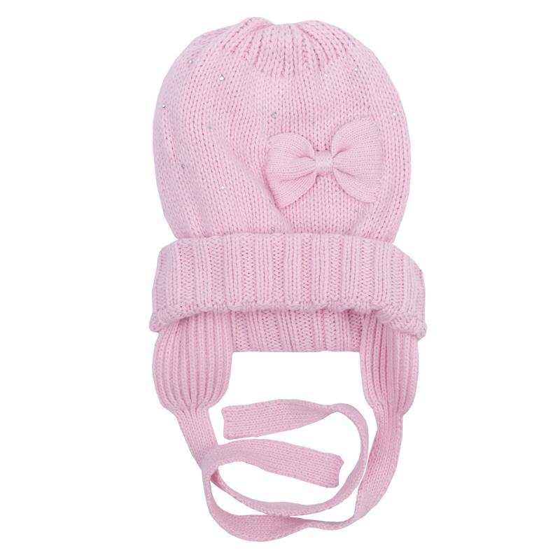 Шапка для девочки. 368810368810Теплая двухслойная шапочка из уютного вязаного трикотажа. Украшена нежным бантиком, есть завязки.