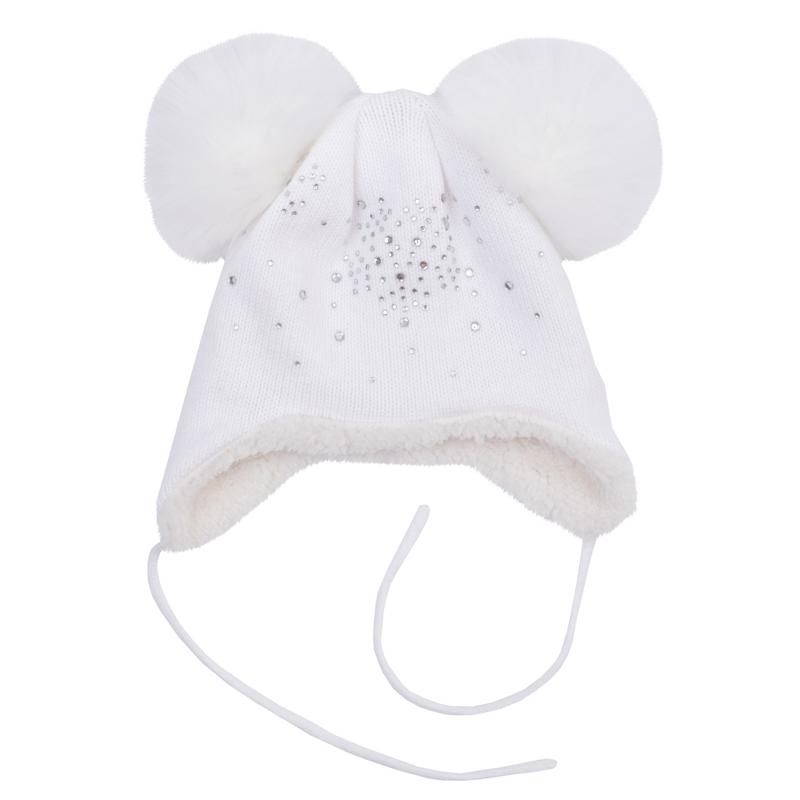 Шапка детская368080Очень мягкая и уютная шапочка из вязаного трикотажа. Украшена двумя меховыми помпонами и россыпью сверкающих страз. Внутри теплая подкладка из искусственного меха. Есть завязки.