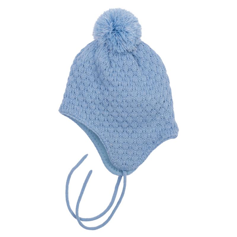 Шапка детская368079Мягкая шапочка из теплого вязаного трикотажа. Украшена уютным помпоном. Внутри флисовая подкладка, есть завязки. Сверкающая люрексная нить придает классный мерцающий эффект.