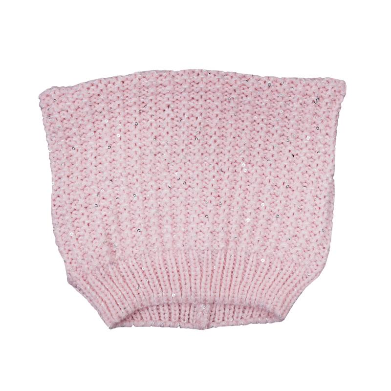 Шапка для девочки. 368034368034Уютная шапочка из вязаного трикотажа на завязках. Необычная форма создает эффект декоративных ушек.