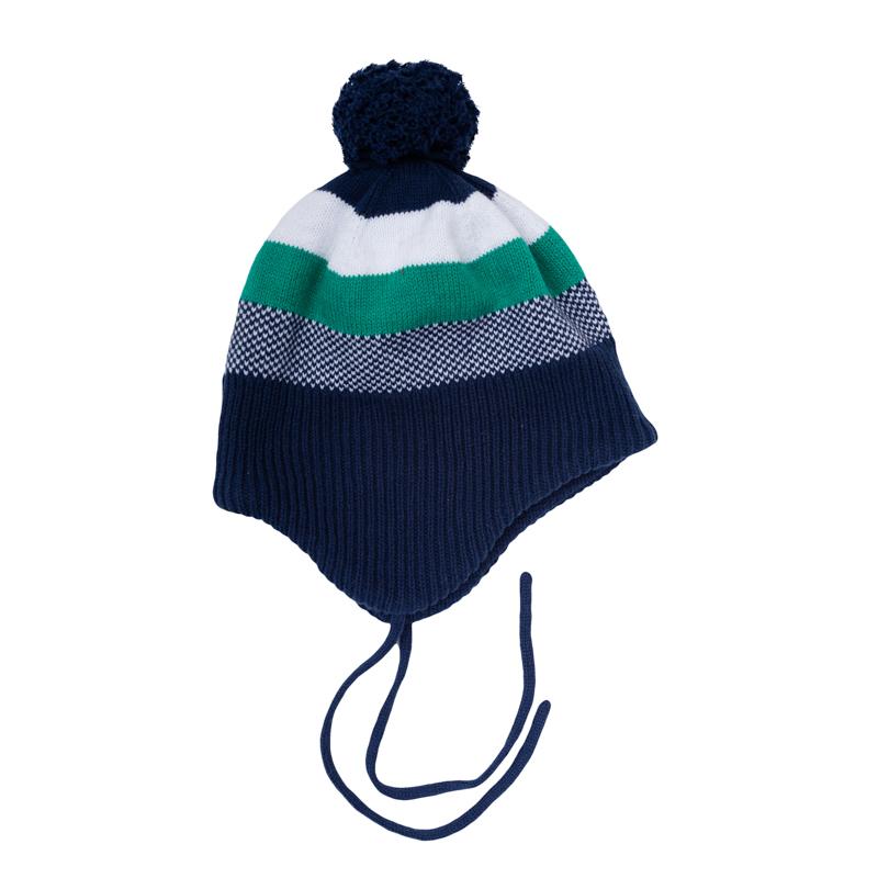 Шапка детская367031Уютная вязаная шапочка на завязках. Украшена рисунком в полоску и забавным помпоном.