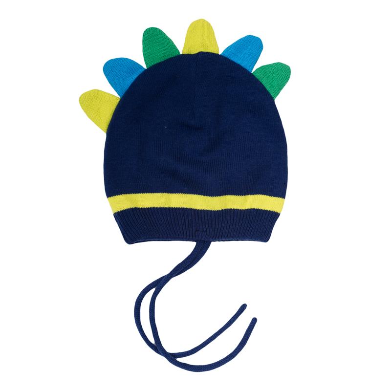 Шапка детская367035Стильная шапка из уютного вязаного трикотажа. Однослойная. Украшена очень забавным гребнем, как у динозаврика. Есть удобные завязки.