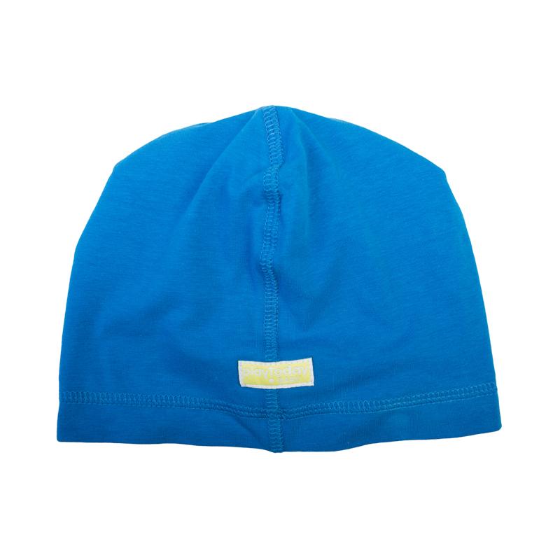 367036Удобная хлопковая шапка темно-синего цвета. Модный крой oversize.