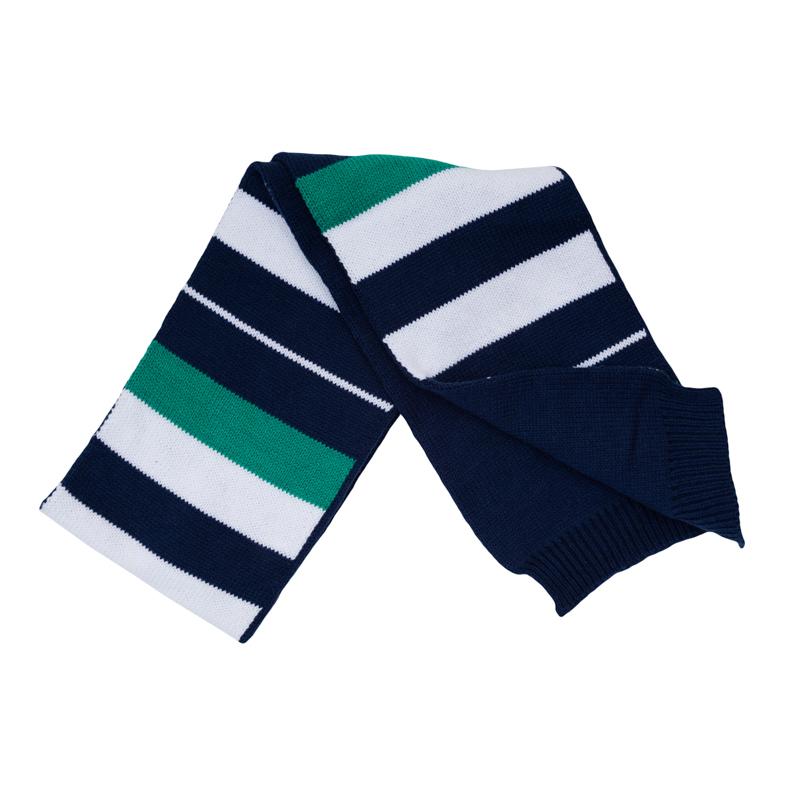Шарф для мальчика. 367032367032Мягкий и уютный двухслойный шарф из вязаного трикотажа. Украшен рисунком в цветную полоску.