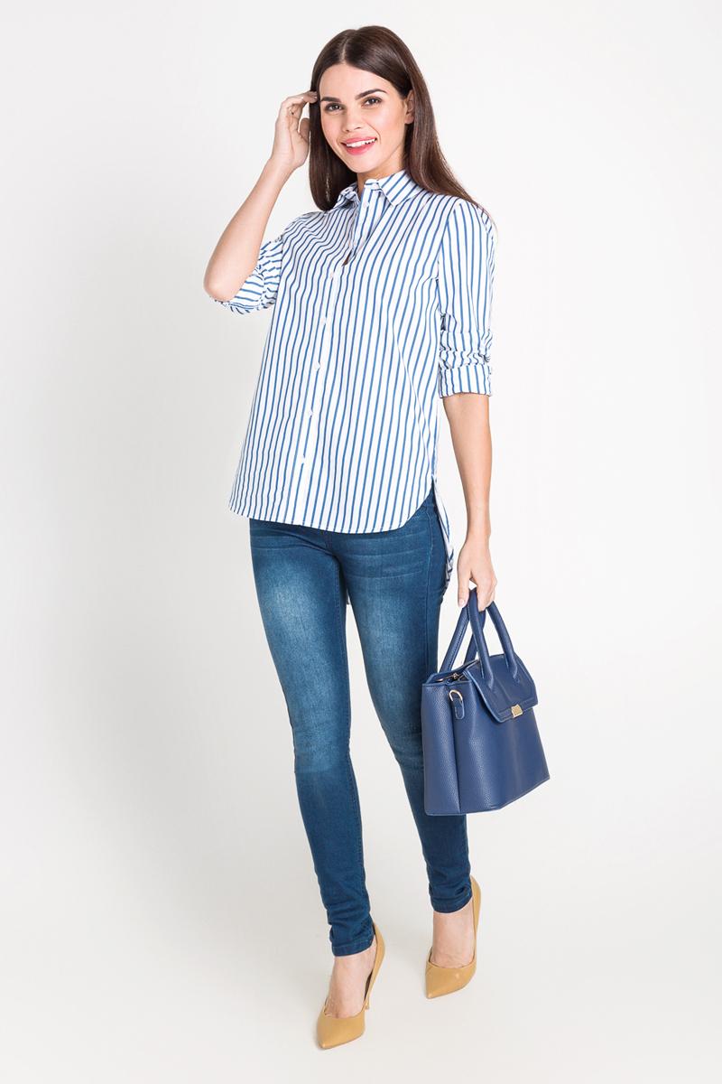 Рубашка40200260083_200Рубашка с удлиненной спинкой выполнена из хлопковой ткани в яркую полоску. Модель свободного кроя с отложным воротником и застежкой на пуговицы спереди.