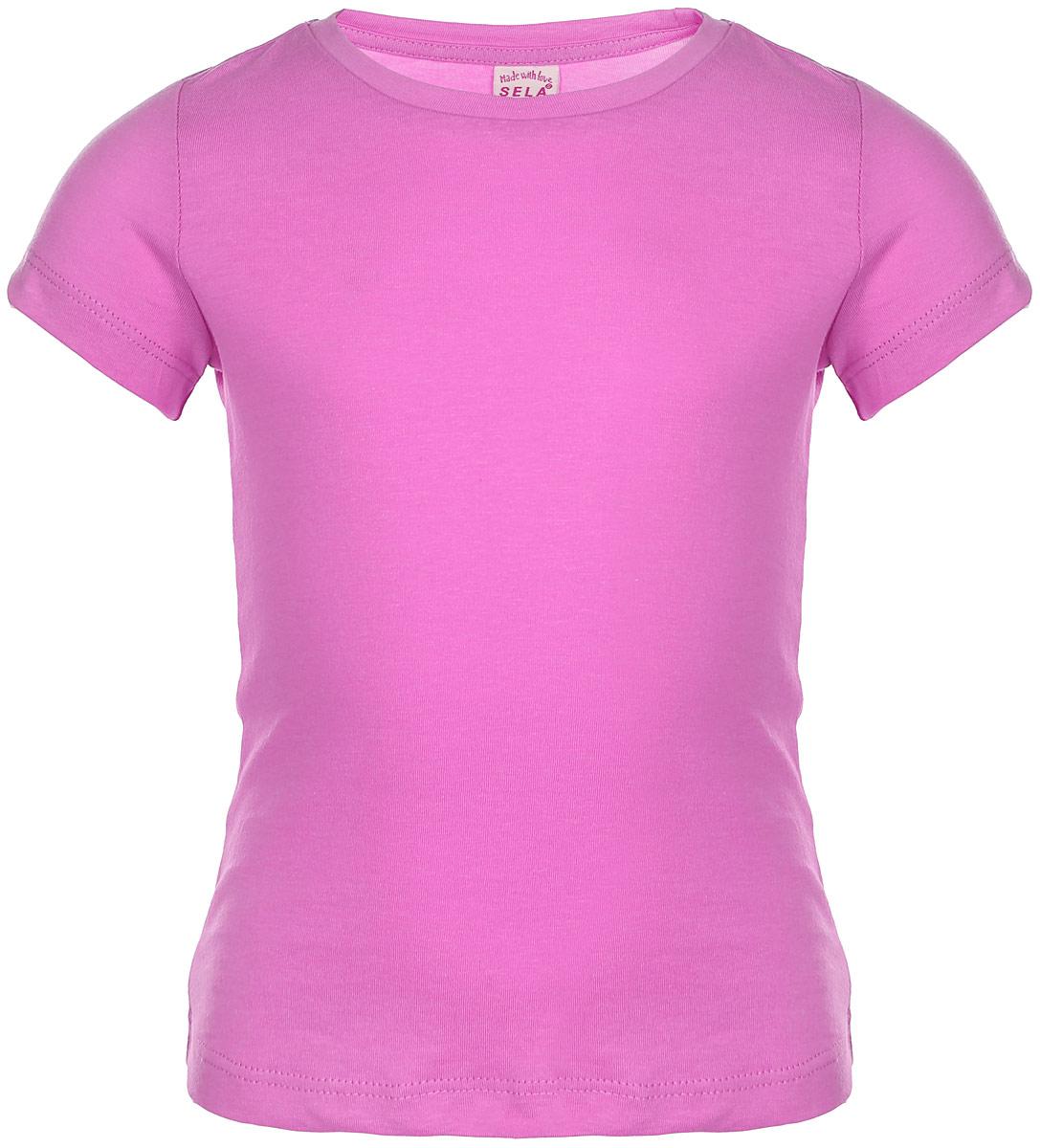 Футболка для девочки. Ts-511/289-6352Ts-511/289-6352Удобная и стильная футболка Sela идеально подойдет вашей дочурке. Изготовленная из натурального хлопка, она невероятно мягкая и приятная на ощупь, не раздражает даже самую нежную и чувствительную кожу ребенка, обеспечивая наибольший комфорт, великолепно тянется и превосходно пропускает воздух. Футболка с короткими рукавами и круглым вырезом горловины выполнена в лаконичном стиле. В такой футболке ваша маленькая модница будет чувствовать себя уютно и комфортно.