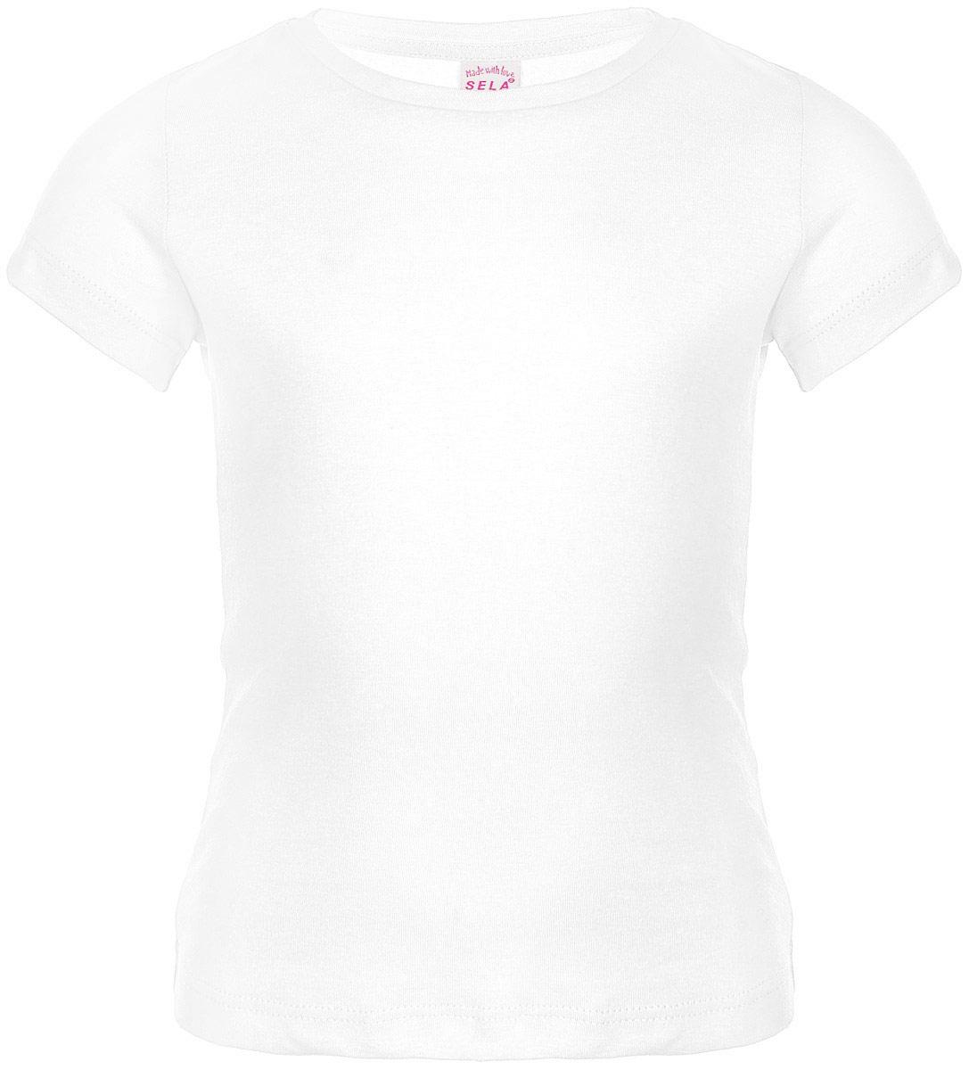 Футболка для девочки. Ts-511/236-6352Ts-511/236-6352Удобная и стильная футболка Sela идеально подойдет вашей дочурке. Изготовленная из натурального хлопка, она невероятно мягкая и приятная на ощупь, не раздражает даже самую нежную и чувствительную кожу ребенка, обеспечивая наибольший комфорт, великолепно тянется и превосходно пропускает воздух. Футболка с короткими рукавами и круглым вырезом горловины выполнена в лаконичном стиле. В такой футболке ваша маленькая модница будет чувствовать себя уютно и комфортно.