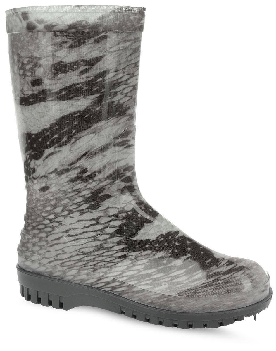266/РУ/(НТП)Стильные женские резиновые сапоги Дюна - идеальная обувь в дождливую погоду. Сапоги полностью выполнены из ПВХ (поливинилхлорид). Модель оснащена съемным текстильным носком, который согреет ваши ноги. Внутренняя поверхность из текстиля. Подошва с агрессивным протектором обеспечивает сцепление с любой поверхностью. Модель оформлена оригинальным принтом и блестками. В таких резиновых сапогах вашим ногам будет комфортно и уютно.