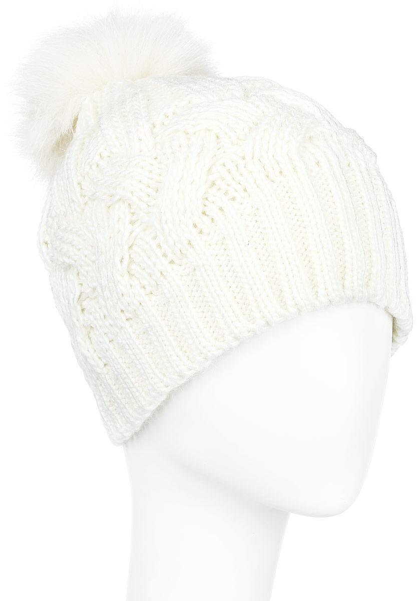 A16-12135_201Стильная женская шапка Finn Flare дополнит ваш наряд и не позволит вам замерзнуть в холодное время года. Шапка выполнена из высококачественной, комбинированной пряжи, что позволяет ей великолепно сохранять тепло и обеспечивает высокую эластичность и удобство посадки. Изделие дополнено теплой флисовой подкладкой. Модель оформлена оригинальным узором и дополнена пушистым помпоном из меха песца. Такая шапка станет модным и стильным дополнением вашего гардероба. Она согреет вас и позволит подчеркнуть свою индивидуальность!