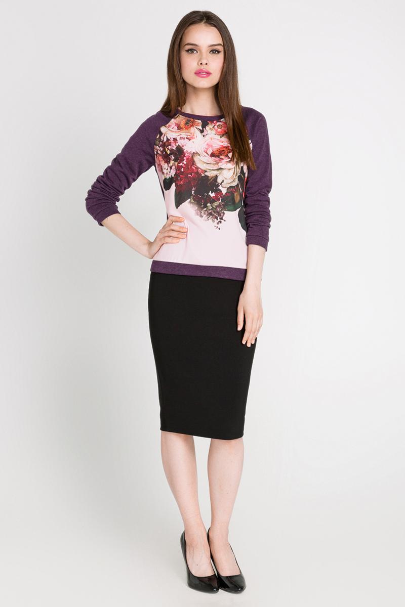 Свитшот10200170046_2700Стильный женский свитшот Concept Club выполнен из хлопка с добавлением полиэстера. Изделие с круглым вырезом горловины и рукавом реглан декорировано оригинальной вставкой из тонкой ткани с цветочным принтом.