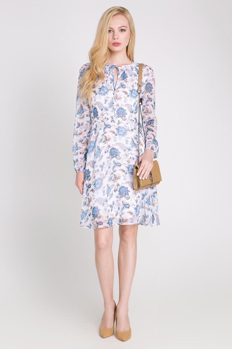Платье10200200169_200Платье Concept Club Ambe выполнено из фактурного шифона и дополнено подкладкой из 100% полиэстера. Платье-миди с круглым вырезом горловины и длинными рукавами застегивается на потайную застежку-молнию расположенную в среднем шве спинки. Платье оформлено небольшим вырезом на груди и завязками у горловины и оформлено оригинальным орнаментом.